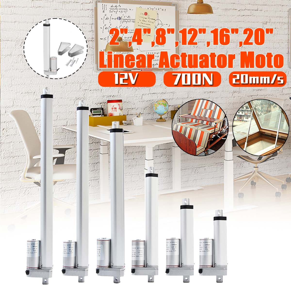 Electric Motor Aluminum Alloy DC 12V Linear Actuator 50 100 200 300 400 500mm 200N Window Opener  20mm/sElectric Motor Aluminum Alloy DC 12V Linear Actuator 50 100 200 300 400 500mm 200N Window Opener  20mm/s