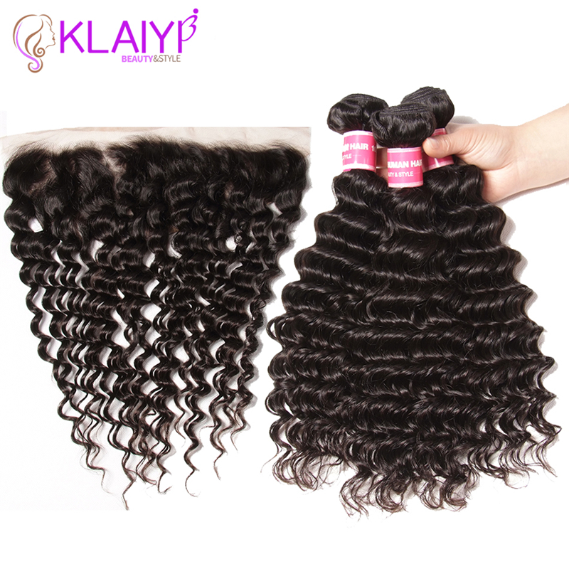 Klaiyi Hair Brazilian Deep Wave Bundles With Frontal Remy Human Hair Weave With Closure 13X4 Frontal