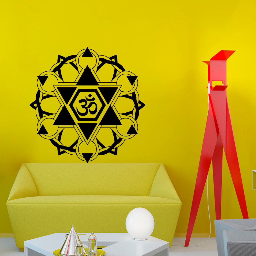 Om Symbol Indian Mandala Pattern Wall Sticker PVC Art Living Room ...
