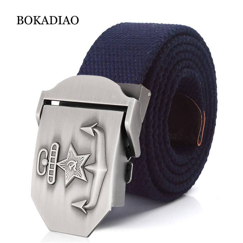 BOKADIAO Men&Women Canvas Belt Navy Of The USSR Luxury Metal Buckle Jeans Belt CCCP Army Tactical Belts For Male Military Strap