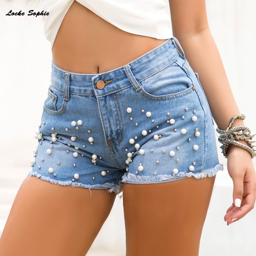 1pcs High Waist Women Sexy Super Denim Shorts 2019 Summer Denim Cotton Beading Shorts Ladies Skinny Club Super Short Jeans Girls