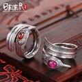Beier 925 prata esterlina jóias 2015 moda característica br925k013 abertura do anel pequeno e grande cor vermelha e rosa