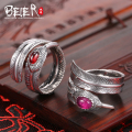 Beier 925 silver sterling jewelry  2015 fashion feature opening ring small and big red and pink colour BR925K013
