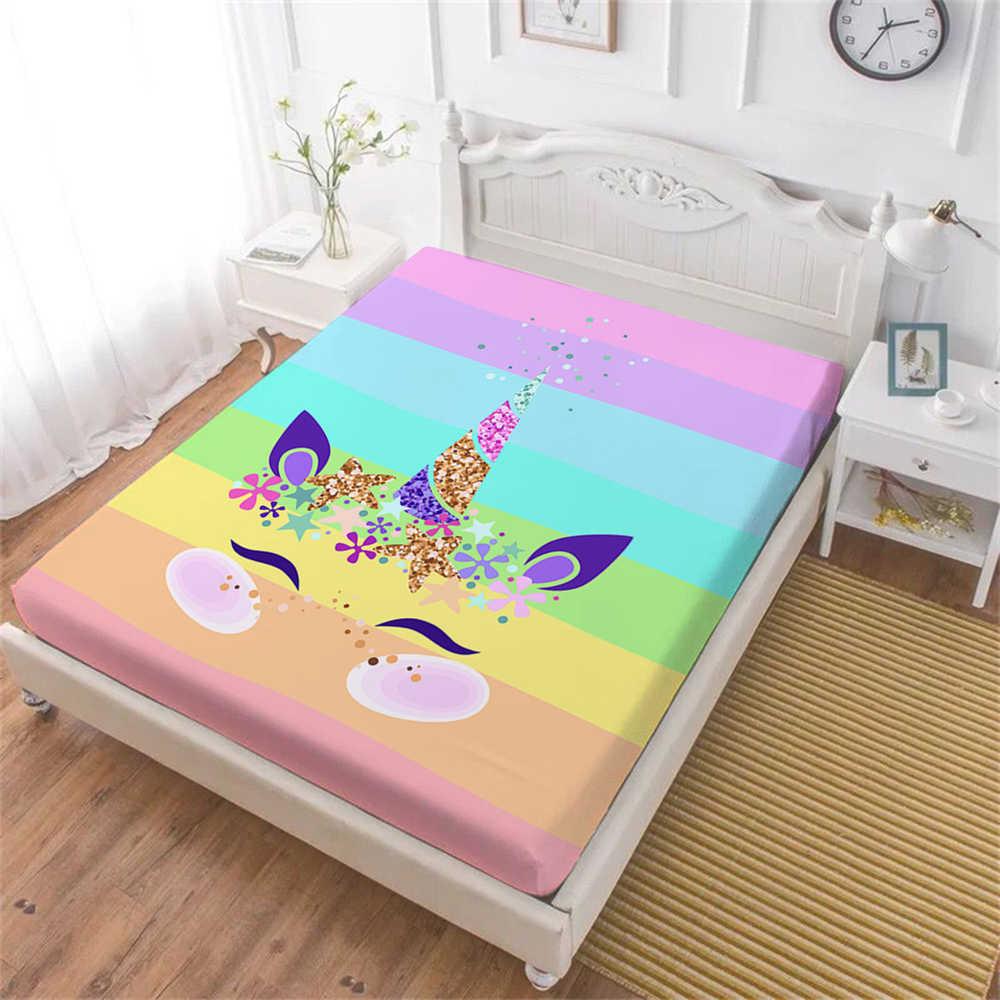 Mooie Regenboog Eenhoorn Laken Kleurrijke Cartoon Hoeslaken Twin Volledige Koningin Koning Bedding Meisjes Prinses Beddengoed D35