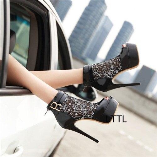 Здесь можно купить  Sexy Black Thin High Heel Platform Sandals Fancy Women Peep Toe Patent Leather Mesh Flower Sandal Booties Fashion LaceBuckleShoe  Обувь