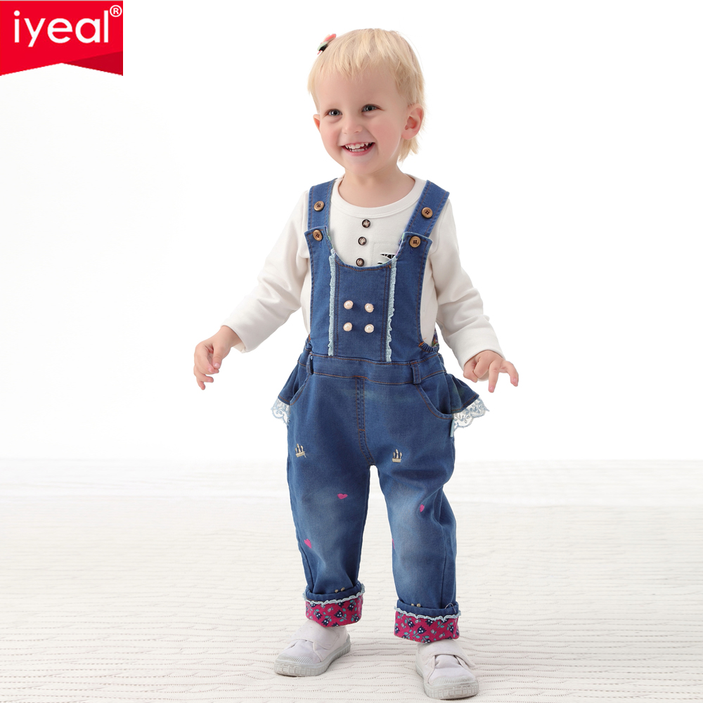 IYEAL Baby Girl Clothing Spring 2017 Bebe Jeans Overalls Lace Rompers Infantil Jumpsuit For Toddler Infant Denim Coveralls luxury good quality new fashion women zipper jumpsuit slim fit skinny jeans rompers pocket denim jumpsuits size sexy girl casual