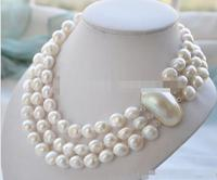 3 rows of jewelry white pearl necklace fresh water