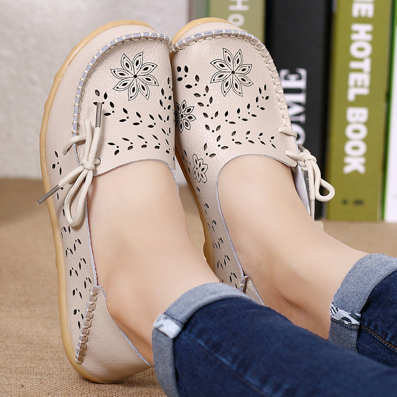 Shoes Woman Flats Genuine Leather Fashion Shoes Female Cutout Slip On Ballet Flats Loafers Casual Ladies 2019 Spring Boat Shoes