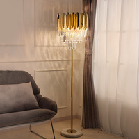 Golden crystal floor lamp for living room bedroom lamp Nordic Hotel LED floor lamp