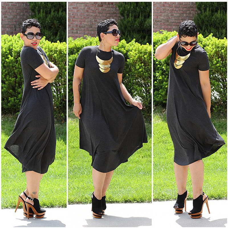 2015 Summer Style Short Sleeve Tshirt Dress Knee Length Casual Loose Plus  Size Women Clothing Maxi Shirt Dresses African Style d35ab015f445