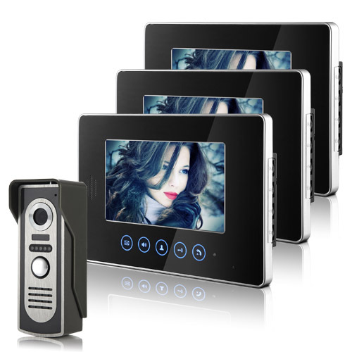 Brand New Home Wired 7 inch Touchkey Color Video Door Phone intercom System 3 Monitors 1 Doorbell Camera FREE SHIPPING IN Stock free shipping brand new wired 7 color home video door phone doorbell intercom system 1 rfid access camera 1 monitor in stock