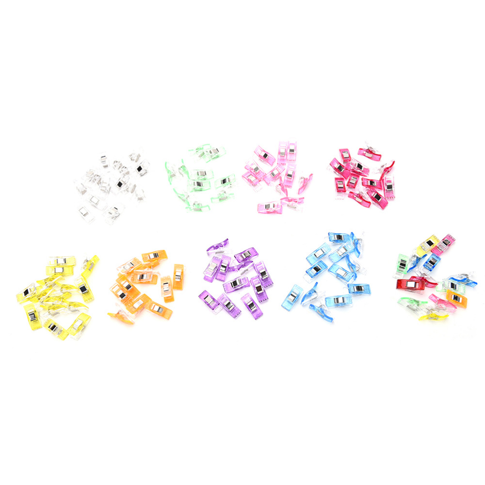 50PCS 9Colors PVC Plastic Clips For Patchwork Sewing DIY Crafts, Quilt Quilting Clip 2.7*1CM