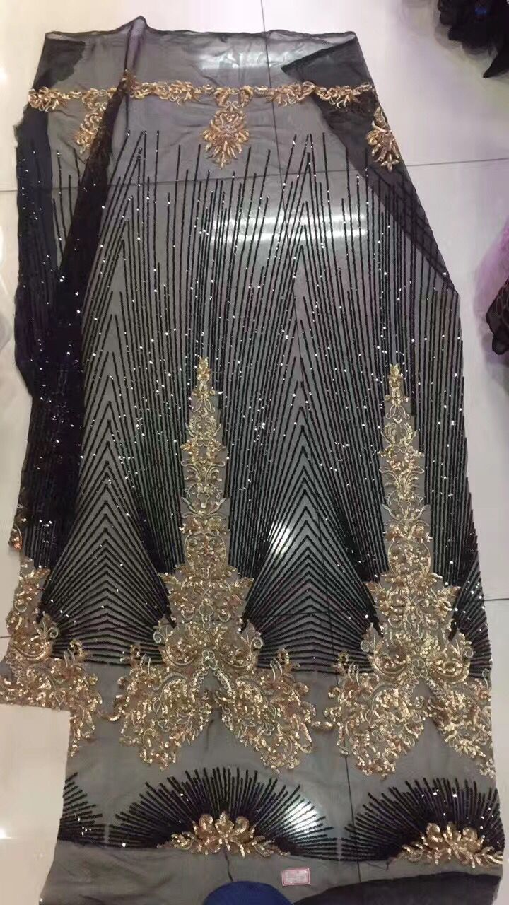 Embroidered Tulle Lace For Wedding Dress Black And Gold