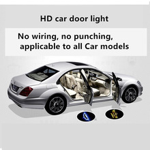 цена на Superb 2pcs/pair Wireless Car Door Welcome Light Logo Projector Ambient Lights LED Laser Ghost Shadow Projector Lamp X for Car