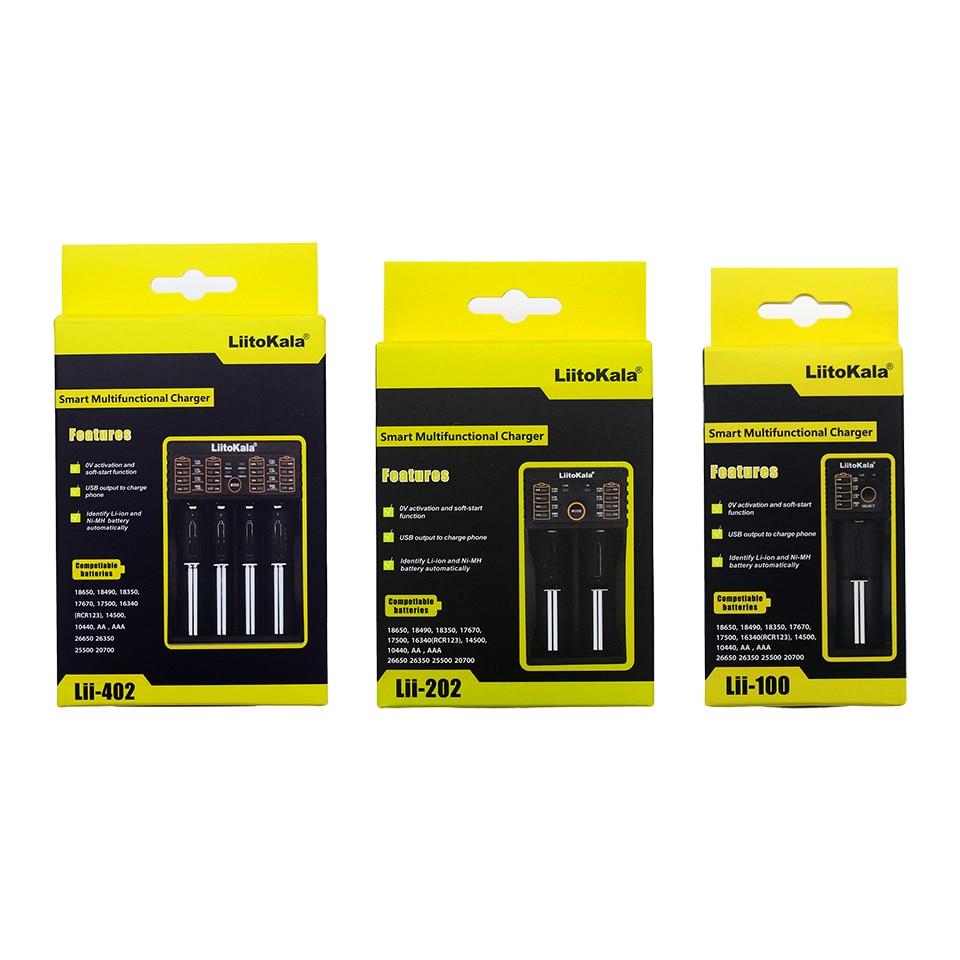 Liitokala Lii-100 Lii-202 Lii-402 Lii-PD4 100B 1.2V 3.7V 3.2V 18650 18350 26650 18350 NiMH lithium e-cigarette battery charger ...
