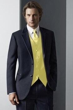 Custom Made Groom Tuxedo Navy Blue Groomsmen Notch Lapel Wedding/Dinner Suits Best Man Bridegroom (Jacket+Pants+Vest)