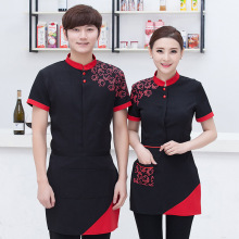 Hotel Restaurant Waiter Work Clothes Summer Female Clothing Women Hot Pot Uniform Waitress Overall Unisex Work Shirt