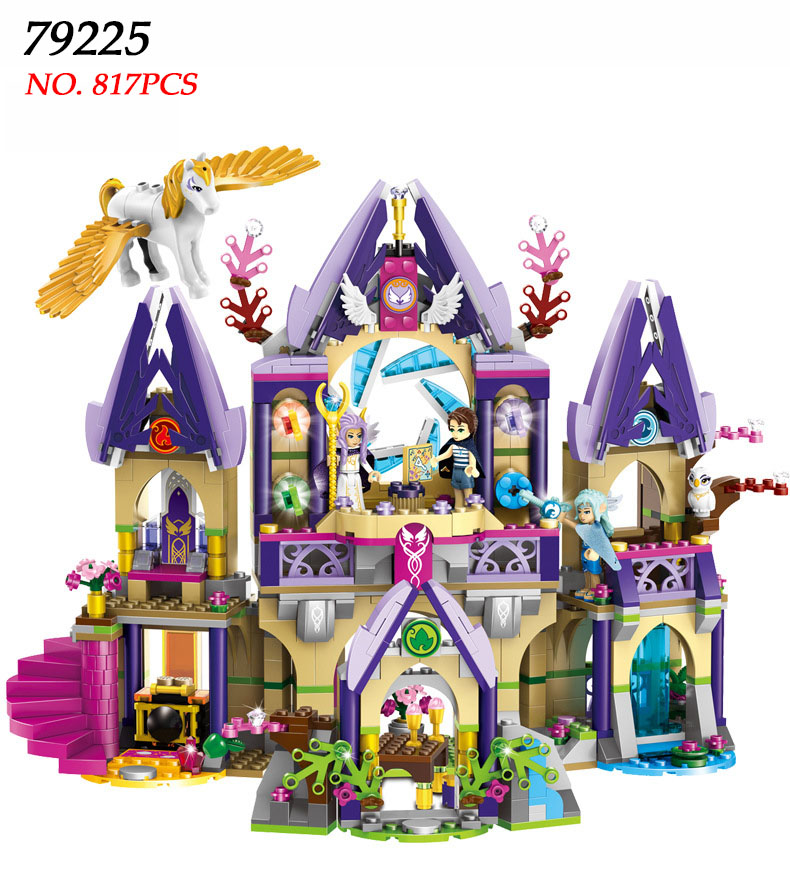 LELE 79225 Elves Figure blocks Skyra's Mysterious Sky Castle building blocks toys for children Compatible 41078 24 pcs set the elves papa smurfette clumsy figures elves papa action figure for children toys dolls blue color birthday gift