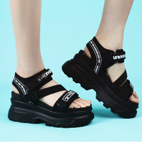 a767f51d4d Women Sandals Platform Black Sandal Shoes Nylon Buckle Lettery Beach Wedge  High Chunky Heel Sandals Ladies