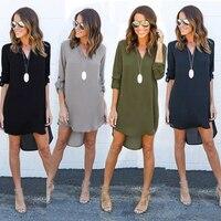 New Women V Neck Solid Chiffon Blouse Top Fashion OL Style Long Sleeve Chiffon Shirt Blouse