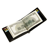 Men Genuine Leather Wallet Cash Clip Small Male Purse NFC Blocking Card Holder Anti Scan Credit