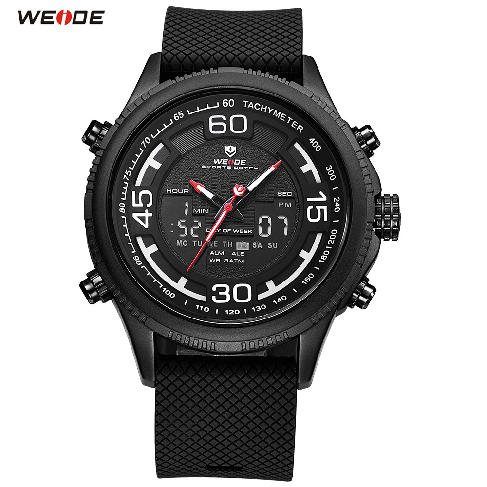 все цены на 2018 Top Brand WEIDE LED Men PU Band Black Analog Watch Sport Watch Digital Quartz Watch Men Waterproof Wristwatch Orologio Uomo