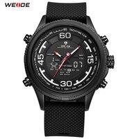 2018 Top Brand WEIDE LED Men PU Band Black Analog Watch Sport Watch Digital Quartz Watch Men Waterproof Wristwatch Orologio Uomo