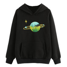 Casual Hoodie Long Sleeve Hoody Ladies Galaxy Print Hoodies O Neck Sweatshirt Pullover Sudadera Mujer Wholesales #F#40SR9(China)