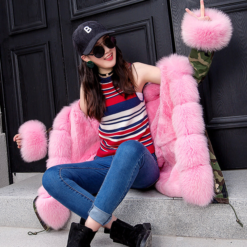 D'hiver Fox Réel Chaud De Camo Maomaokong Haute Manchette Pink Qualité Blue Grey Femme Col Fourrure camo camo Femelle 2018 Parkas Manteau Nouveau Patte Pardessus qwZZItzv