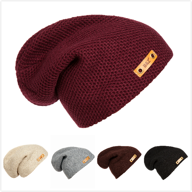 4743f9e3d85 New Fashion Leather Label Decoration Hats Hip Hop Toucas Caps Men and Women  Knitted Bonnet Beanies Toca Masculina Para Inverno