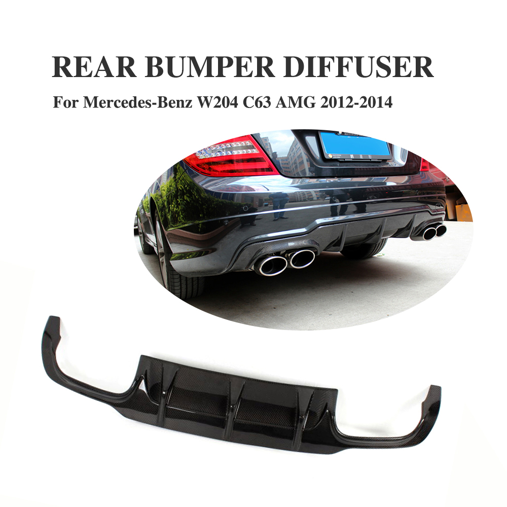 Carbon Fiber <font><b>Rear</b></font> <font><b>Diffuser</b></font> Spoiler Lip For Benz C Class W204 C63 AMG <font><b>C300</b></font> Sport 2012 2013 2014 image