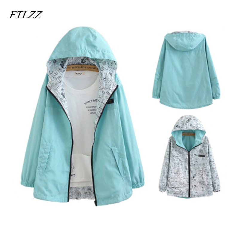 Ftlzz Spring Autumn Women Two Side Wear Windbreaker Jackets Female Hooded Zipper Loose Cartoon Print Outwear Coat