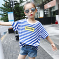 Summer Striped T-shirt Children Active Cotton Clothing Girls O-Neck Striped Girls Tops Hot Sale 5-14Years Old Kids T-shirt