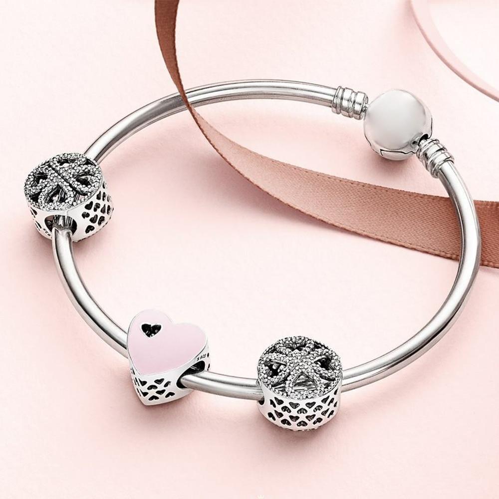 2019 NEW 100% 925 Sterling Silver 1:1 SWEET LOVE HEART CHARM Petals of Love Four leaf Clover Beaded Bracelet Bangle Gift Set