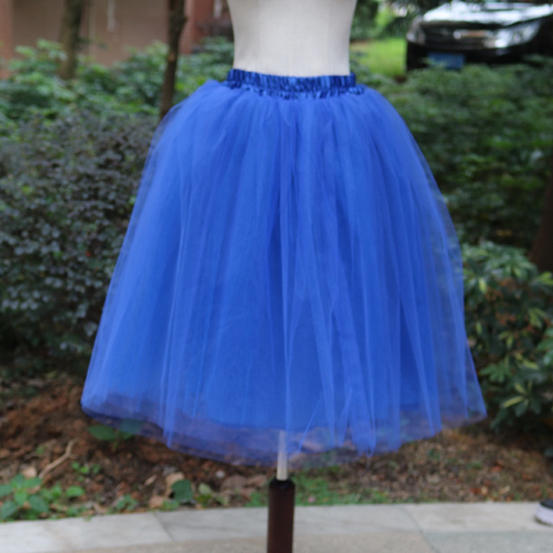 Тюлевая юбка принцессы, пышная Женская Лолита, белая сетчатая юбка, балетная юбка для девочки, 5XL размера плюс, черная одежда для рождественской вечеринки, танцевальная одежда - Цвет: Синий