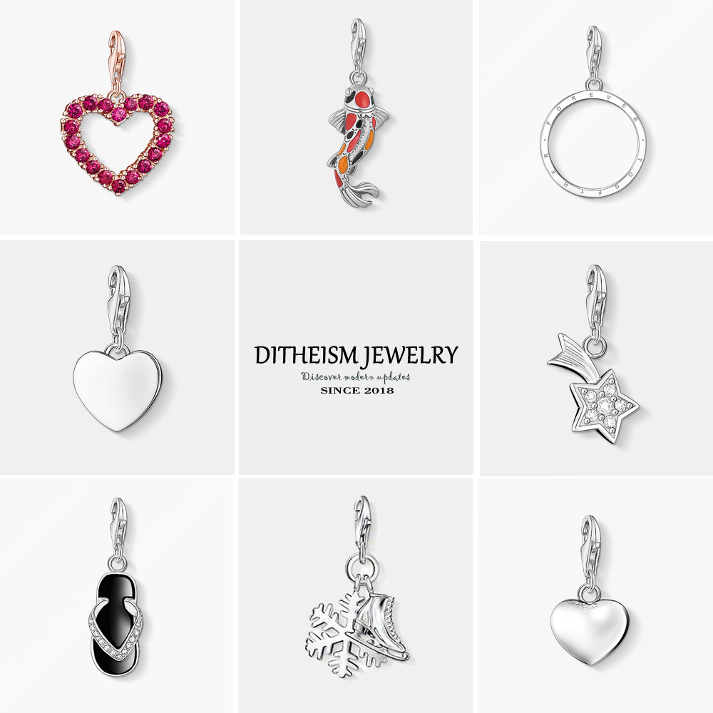 Heart Charms Pendant,2018 Fashion Jewelry 925 Sterling Silver Romantic Hearts Gift For Women Girls Fit Bracelet Necklace Bag