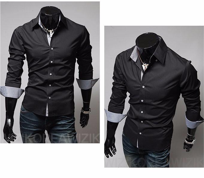 Mens Casual Shirts 2016 Hot Sale Mens Slim Fit Dress Long Sleeve Shirts Soild Male Social Shirts Designer Chemise Homme 3XL 25 7