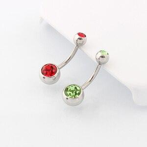Image 5 - Medische Staal (100 Stuks/partij) buik Navel Button Rings Body Piercing Sieraden Groothandel 14G Chirurgisch Staal Met Dubbel Kristal