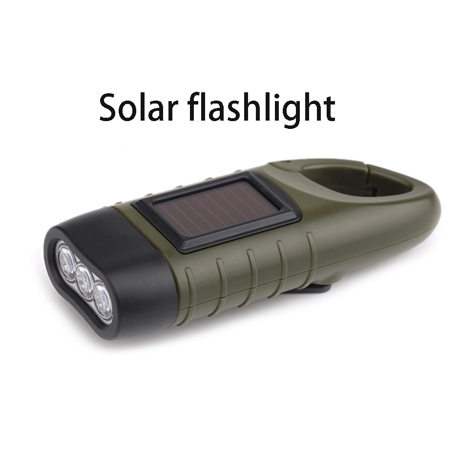 Mini Emergency Hand Crank Solar Flashlight Rechargeable