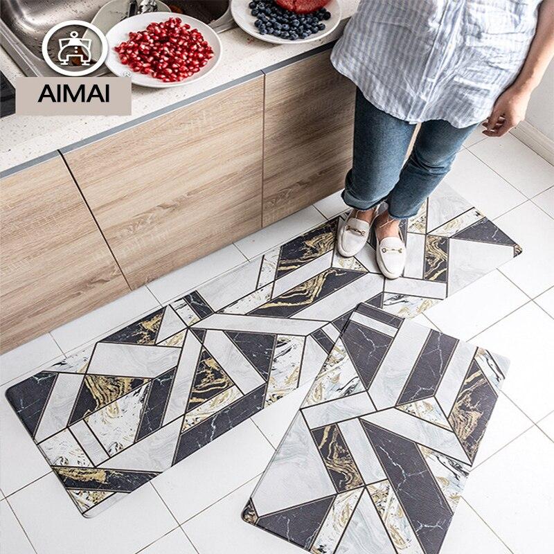 Tapis européen en cuir PVC de forme géométrique Super confortable antidérapant résistant à l'huile lavable Durable tapis de cuisine tapis de chevet tapis coureur