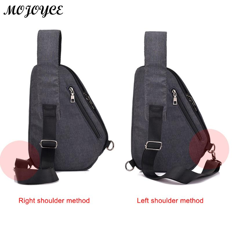Casual Simple Men Sling Chest Pack Zipper Shoulder Laptop Satchel Crossbody Handbag Solid Color Male Casual Messenger Chest Bag