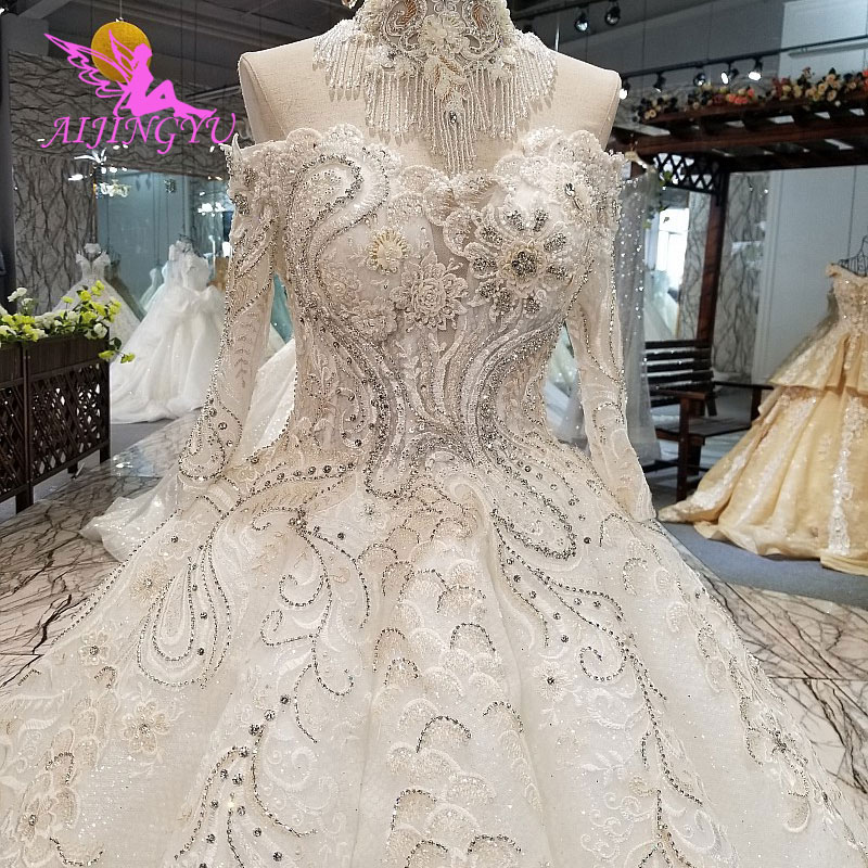AIJINGYU Wedding Dresses Korea Gowns Crystal Bridal 2018 Gown For Weddings Lace And Tulle Long Sleeve Wedding Dress