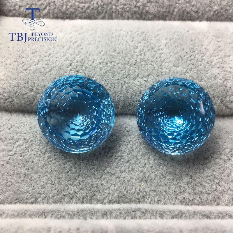 Tbj, естественно свободные синий топаз драгоценный камень круглый 18 мм 52.85ct Птичье гнездо незакрепленный драгоценный камень для diy серьги иде