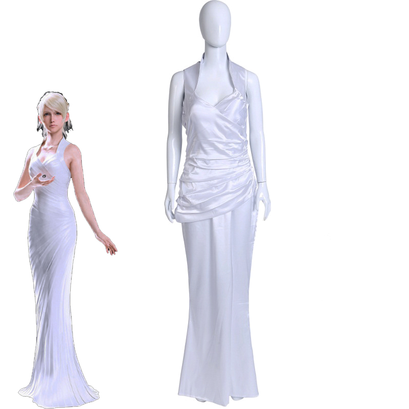 Final Fantasy XV Lunafreya Nox Fleuret Cosplay Costume Women's Formal Dress Halloween Carnival Sexy White Fancy Gown Custom Made