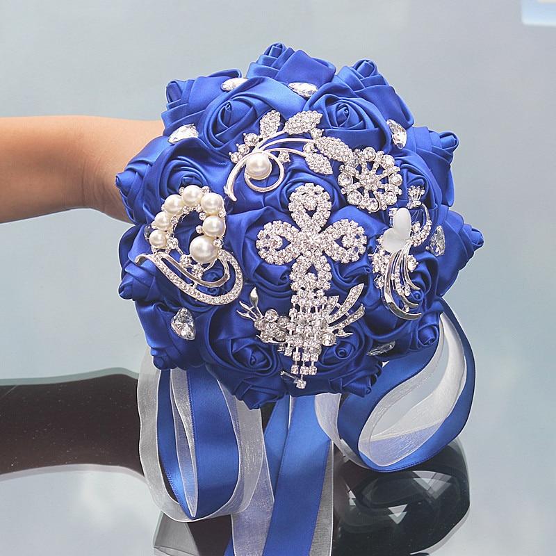 Artificial flower 15cm ribbon rose bouquet luxury rhinestone pearl decoration bride wedding ball DIY handmade bouquet