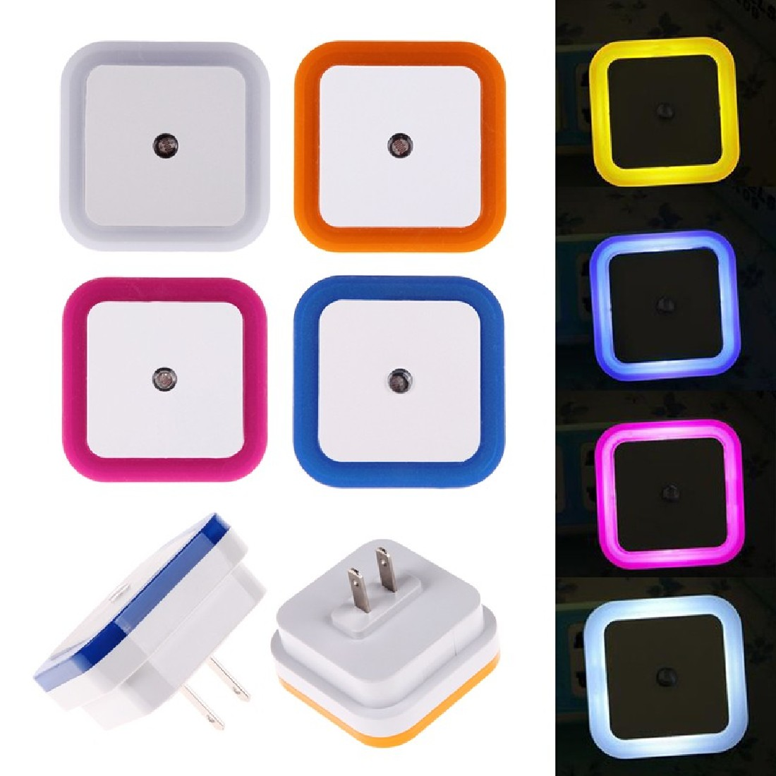 Bedroom Night Lights Bed Lamp Smart Lamp Household Lovely Square Auto LED Light Induction Sensor Control US Plug