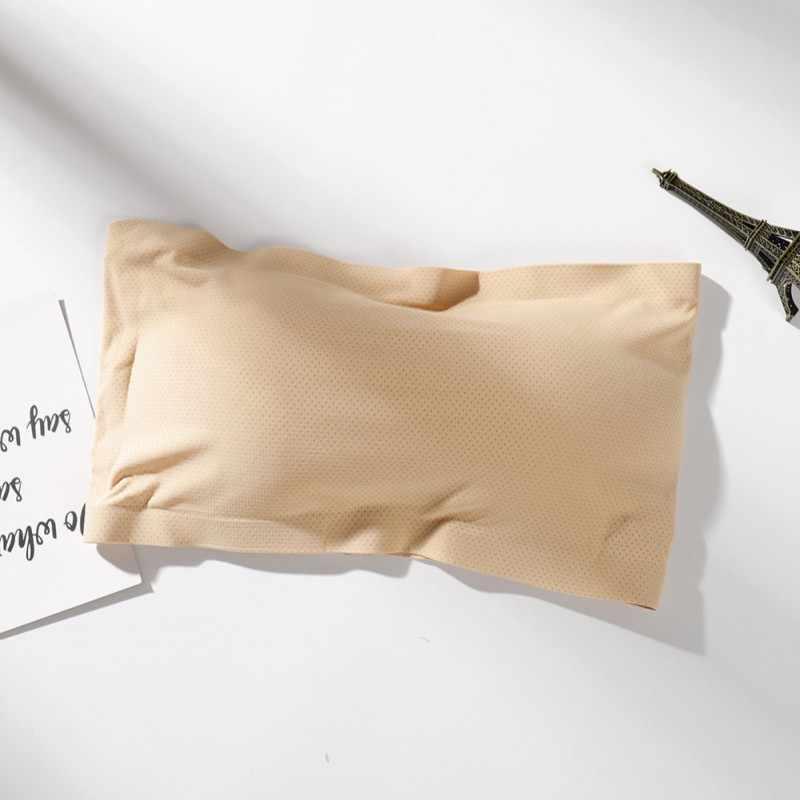 2018 新ファッションチューブトップセクシーなシームレスなストラップレスソリッドバンドートップ夏スリム氷の絹の下着女性のためのブランド品質 v003