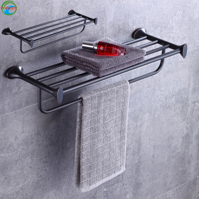 Brass Towel Shelf With Bar Oil Rubbed Bronze Bath Towel Rack Fixed Bath Towel Holder One Towel Bar Wall Mounted contemporary oil rubbed bronze shower bathroom towel bar rack with tooth brush holder
