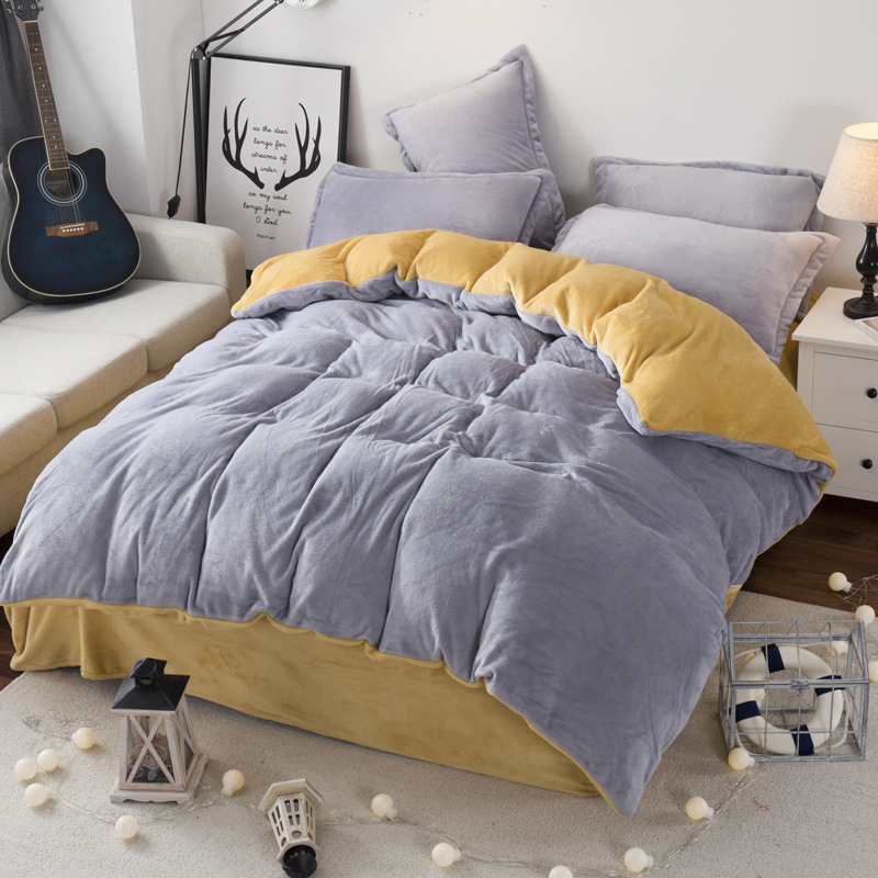 Free Shipping Modern Style Soft Fay Velvet Duvet Cover Set Bed Sheet Pillowcase King Size Super Soft Bedding Sets JAJU039 ...