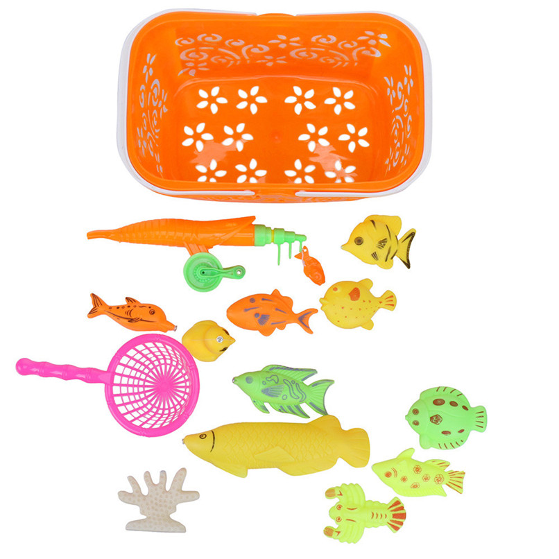 16Pcs Random Color Fishing Toys Children Baby Cute Fish Model Magnetic Toy Intelligence Fishing Tool Sets For Tub or Pool JE15#F